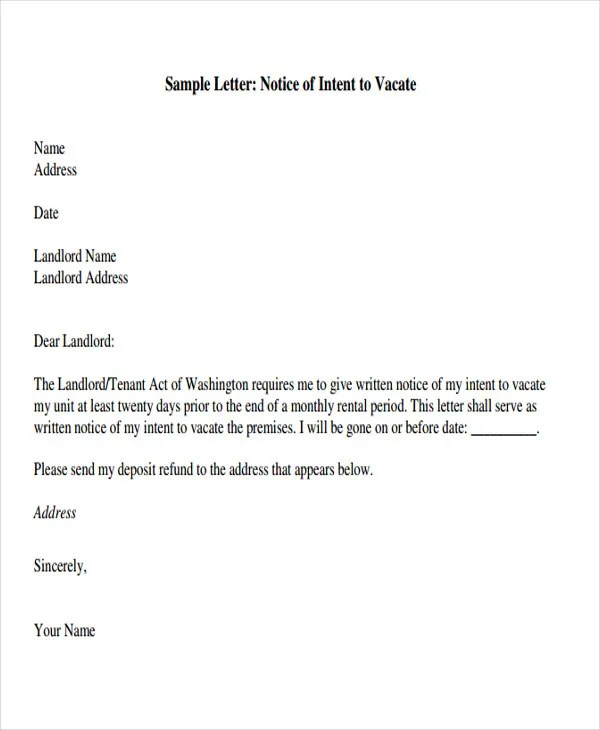 how to write a landlord end of tenancy letter