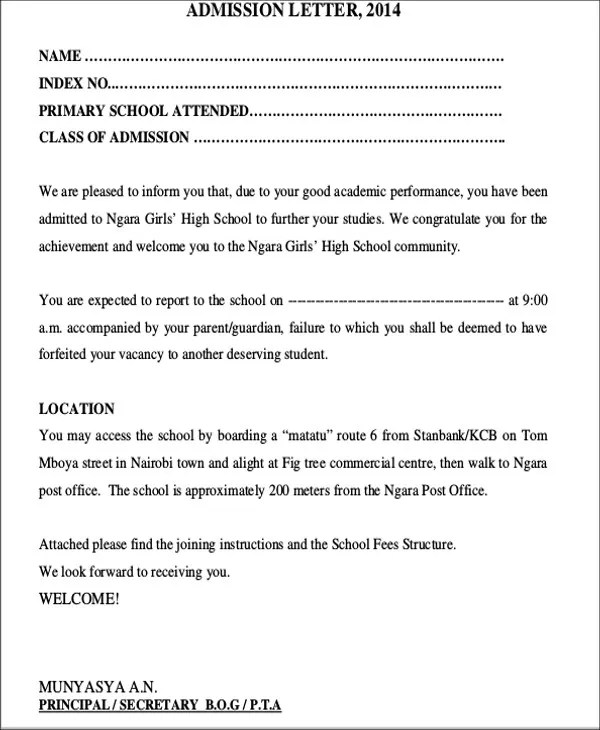 Sample Application Letter For Primary School Admission Uk
