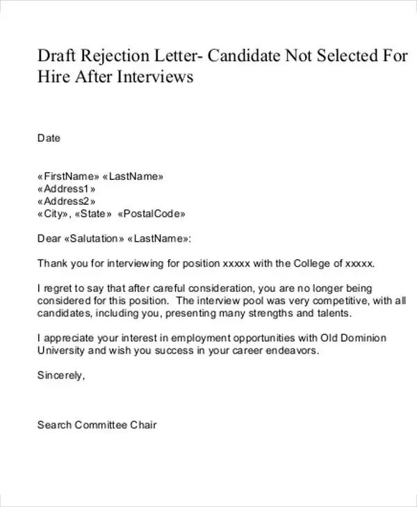 letter to employer after rejection