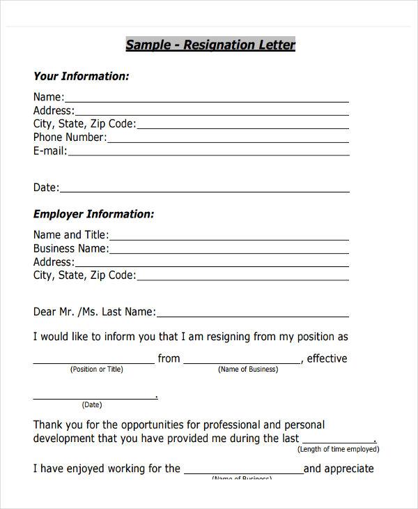 29 Resignation Letter Templates In PDF Free & Premium