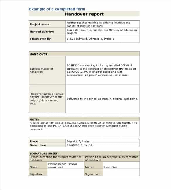 handover example