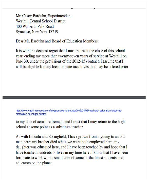 resignation retirement letter