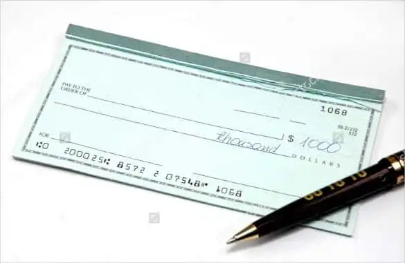 cheque template word