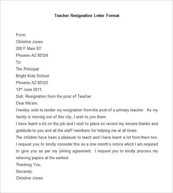 engineer resignation letter format pdf
