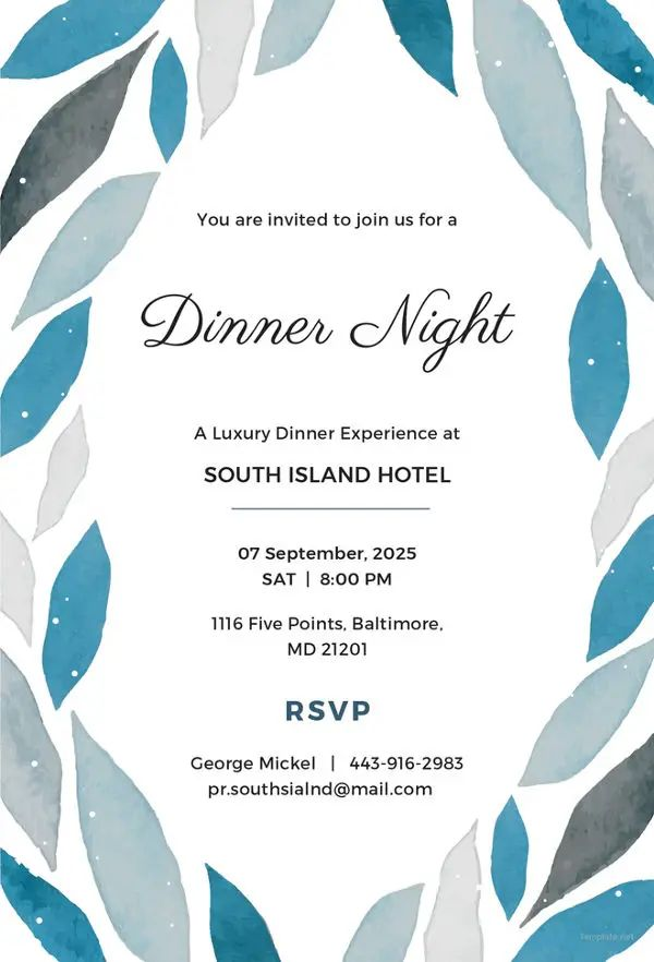 invitation to dinner party