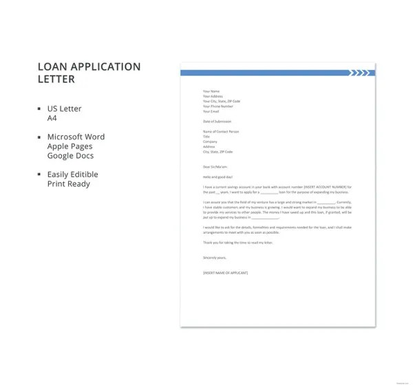 Loan Application Letter Templates 8 Free Word Documents