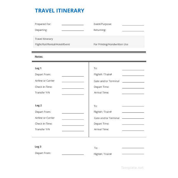 10 Free Itinerary Templates  Travel Wedding Vacation Business  Free  Premium Templates