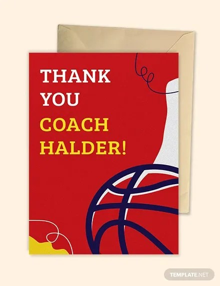 Coach Thank You Cards : coach, thank, cards, Sports, Thank, Printable, Format, Download!, Premium, Templates