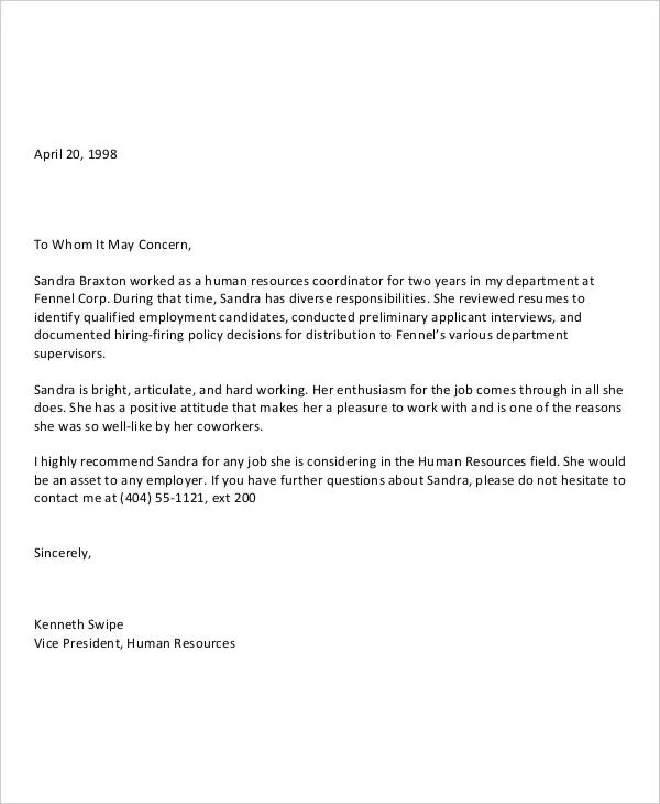 sample letter of recommendation for an employee