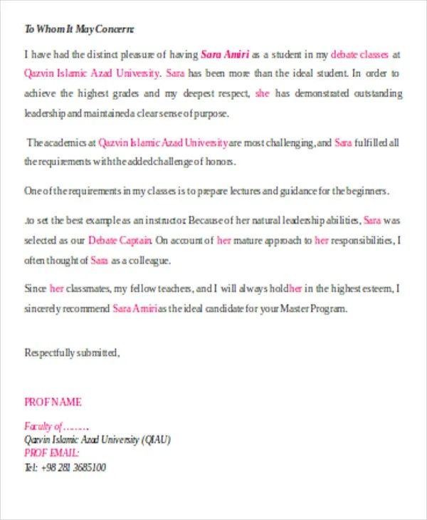 54 Recommendation Letter Example Templates Free