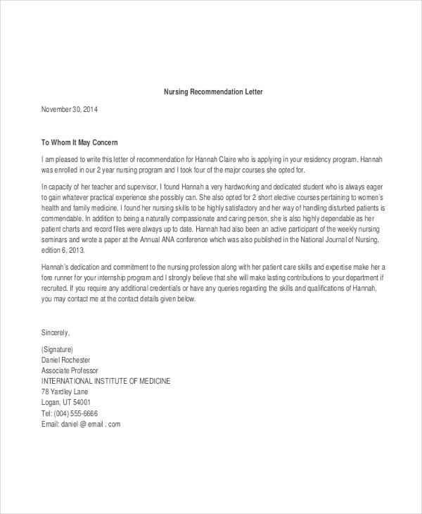 letter of recommendation for nursing program