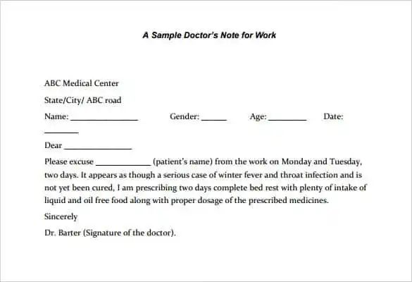 examples of doctors notes to return to work