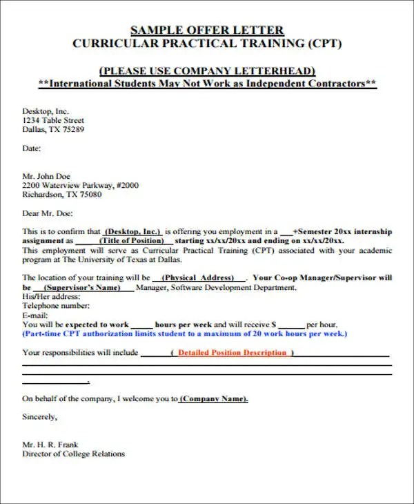 40 Offer Letter Format Templates PDF DOC Free