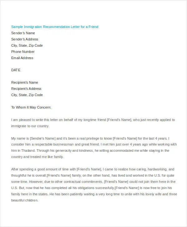 sample immigration letter of recommendation for a friend