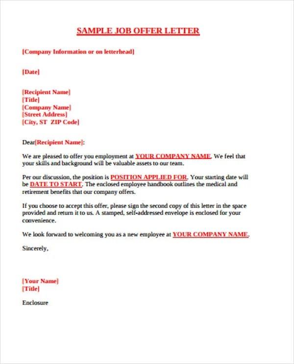 42 Sample Offer Letter Templates  Free  Premium Templates