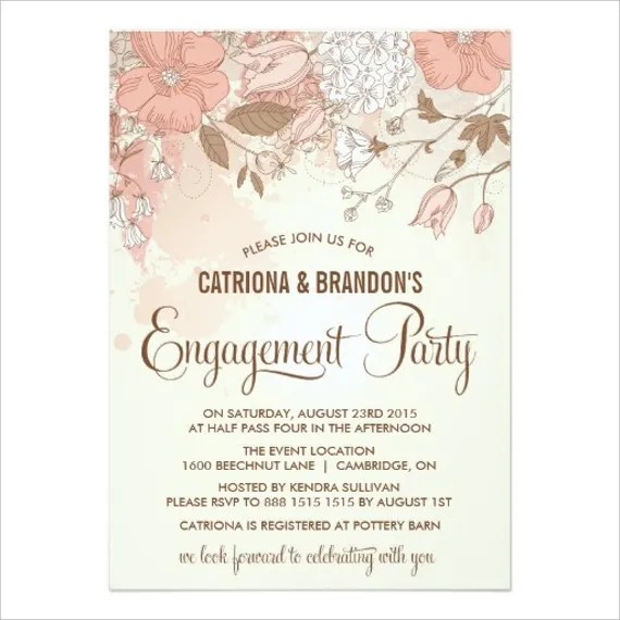 Printable Vintage Engagement Party Invitation Card