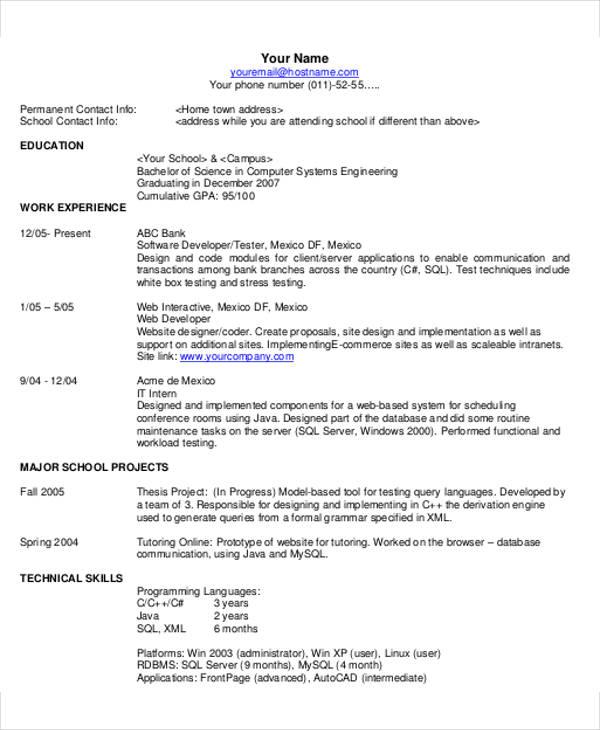 resume template example pdf