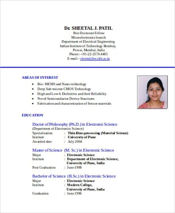Standard Resume Format Doc - Resume Sample