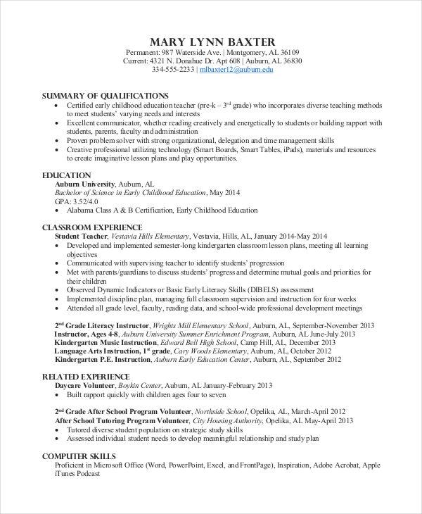 preschool teacher resume template free
