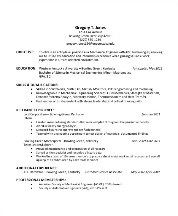 College Resume Objective Examples