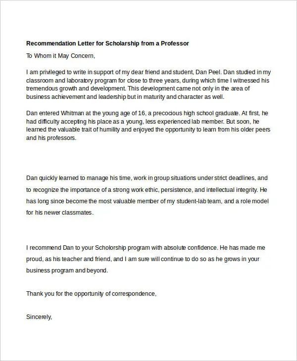 letter of recommendation for scholarship template free