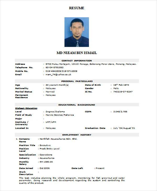 resume sample in doc file