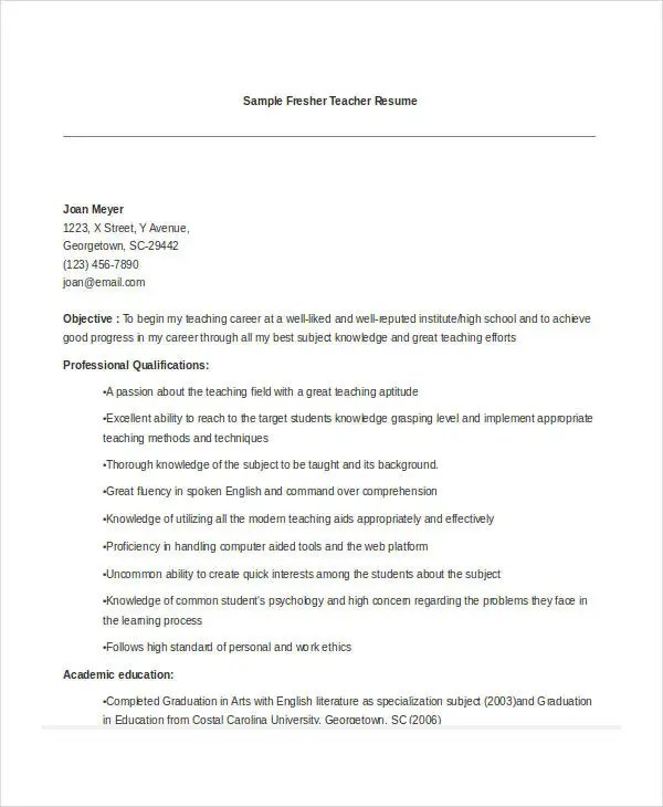 Teacher Resume Examples 23 Free Word PDF Documents