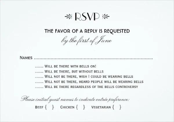 samples of rsvp cards