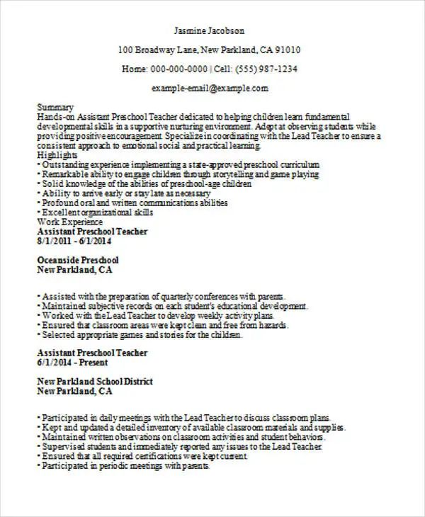 objective on resume for teacher assistant