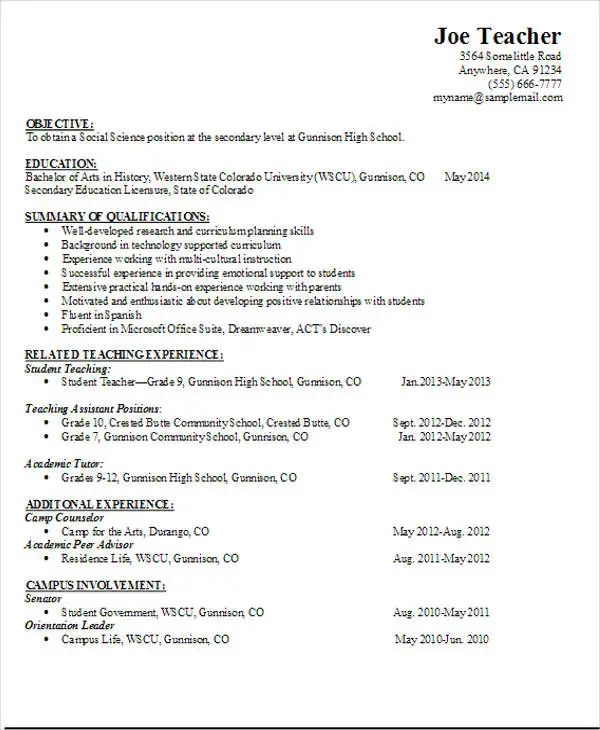 high resume template