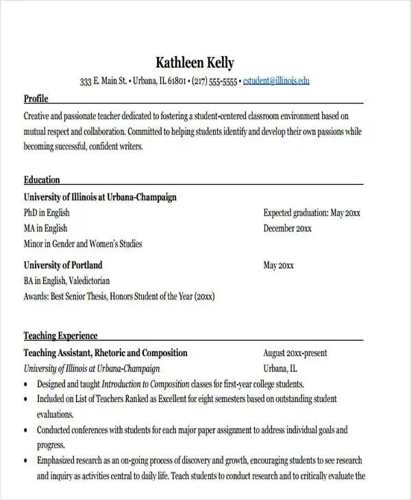 Grad School Resume Objective