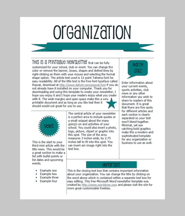 newsletter template free download word