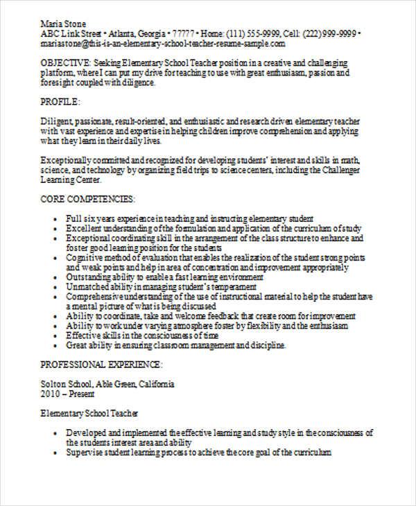 elementary teacher sample resume