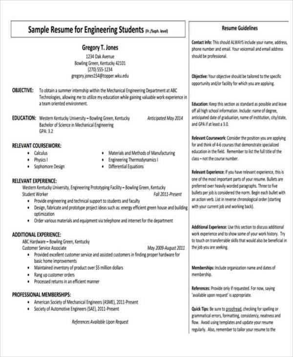 mechanical engineering intern resume