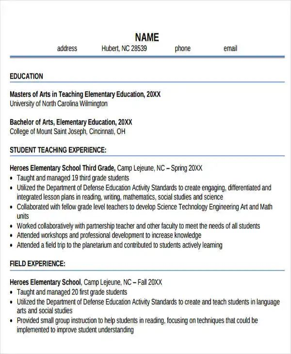 uncw sample resumes