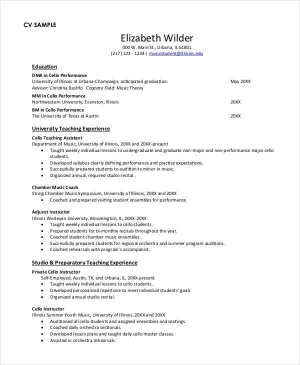 Teacher Resume Examples  23 Free Word PDF Documents