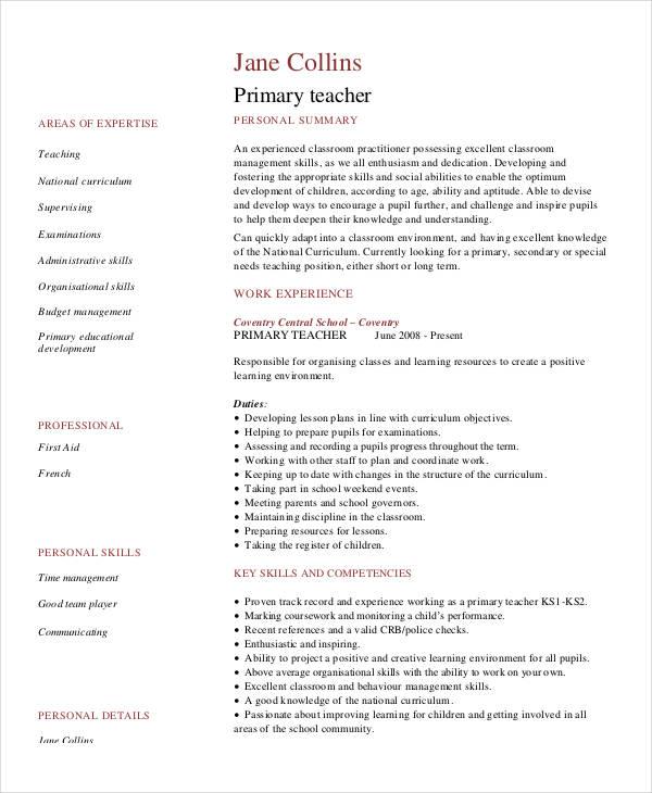 resume for teacher duties