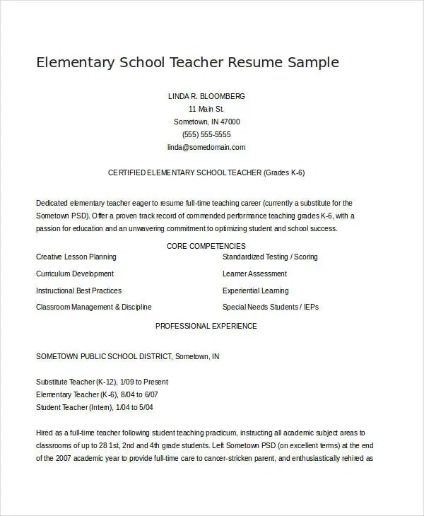 teacher resume examples 23 free word pdf documents download - Sample Elementary School Teacher Resume