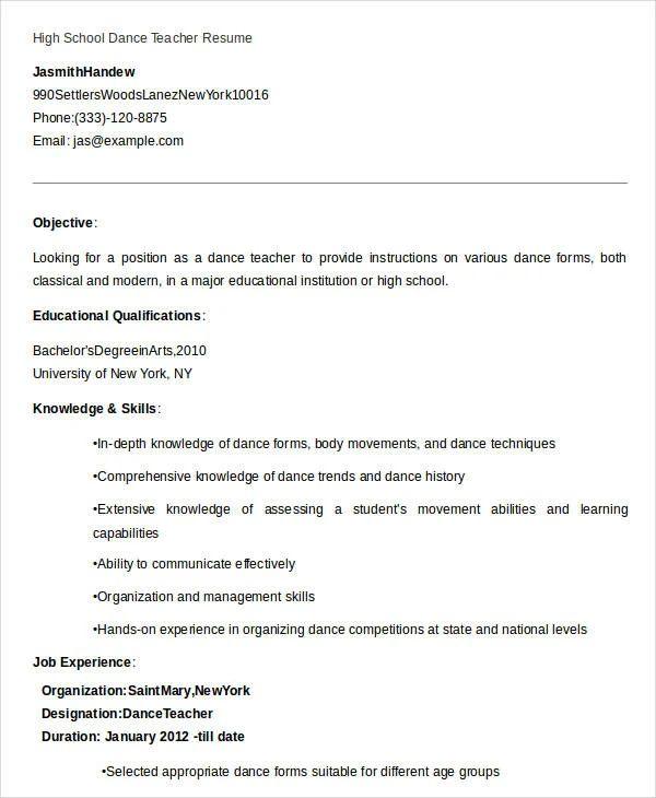 school teacher resume sample pdf