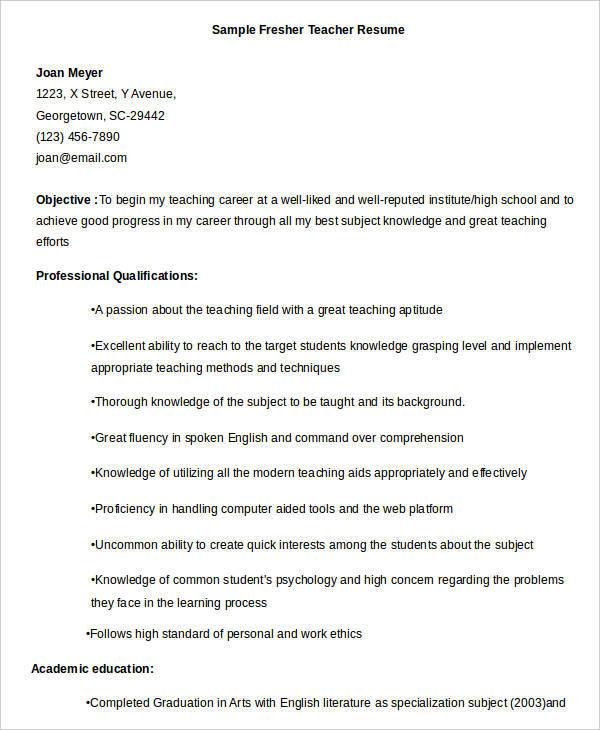sample resume format for teaching professional