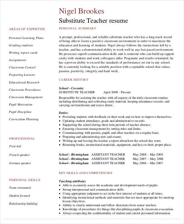 Free Teacher Resume 40 Free Word PDF Documents