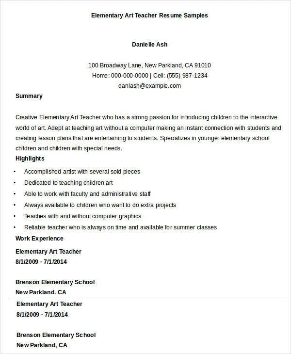 teacher resume samples objective