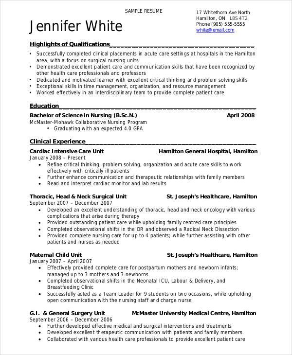 Bsc Nursing Resume Doc - Resume Examples | Resume Template