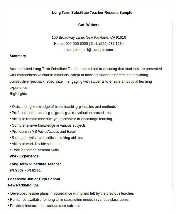 Free Teacher Resume  40+ Free Word, Pdf Documents