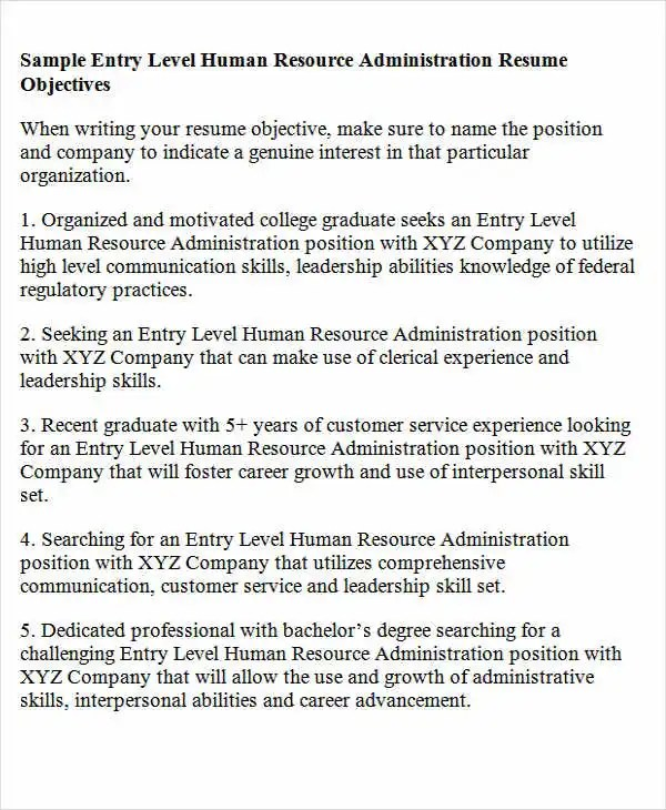 Career Objective For Hr Resume Resume Objectives  Free Sample