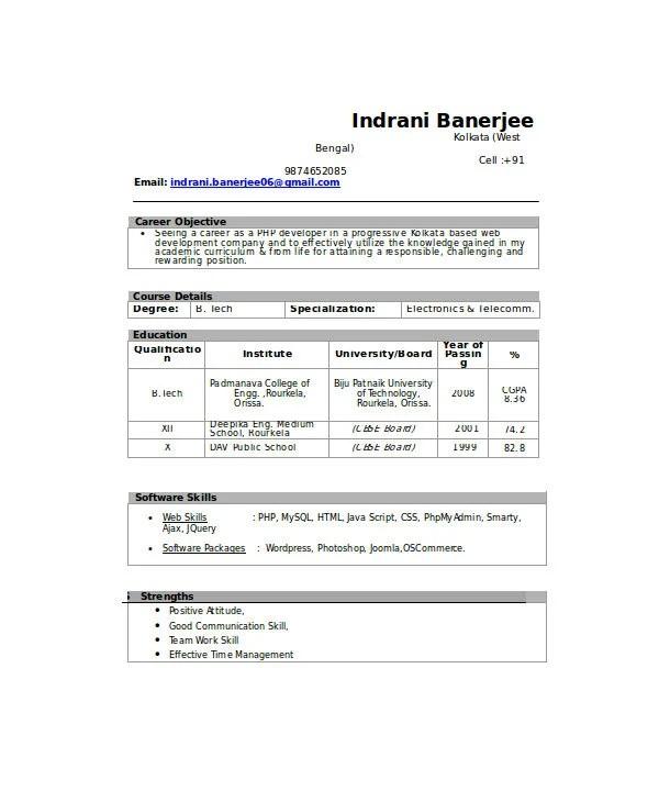 21 Fresher Resume Templates  PDF DOC  Free  Premium