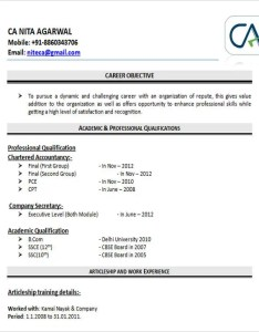 Resume Format For Chartered Accountant Freshers