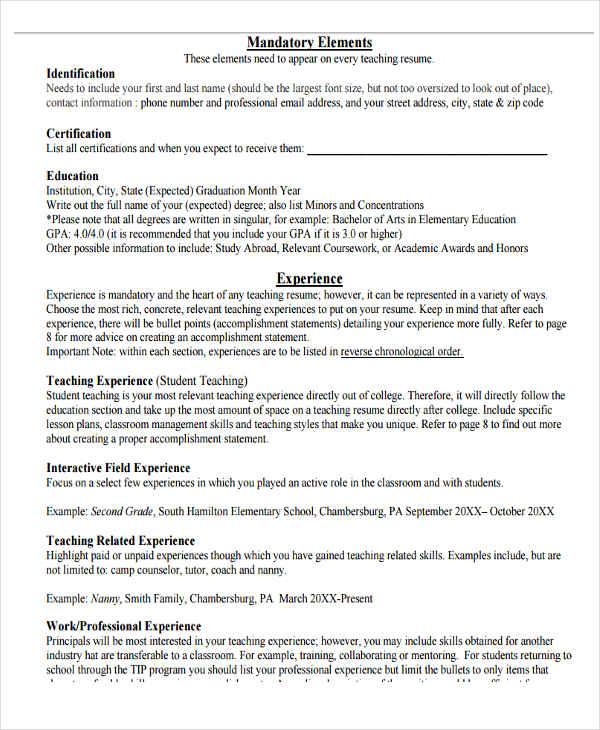 20 Teacher Resume Templates  PDF DOC  Free  Premium Templates