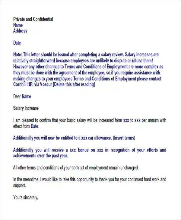 salary increase letter to employees