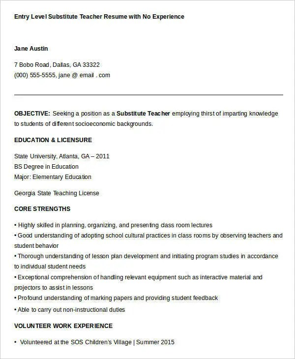 Teacher Resume Sample 28 Free Word PDF Documents Download  Substitute Teacher Resume Job Description